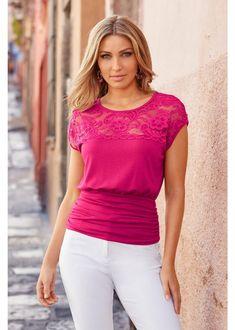 Lace Illusion Neckline Blouson Top | Boston Proper Stylish Clothes For Women, Fashion Marketing, Fashion Articles, Illusion Neckline, Short Tops, Pink Tops, Boston Proper, Lace Trim, Tunic Tops