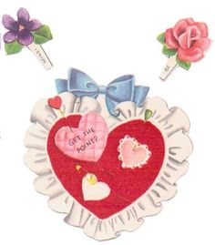 Vintage 1950s Novelty Valentine Greeting Card Sewing Pin Cushion Flocked Heart Card Used