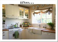 Beautiful kitchen. White beadboard cabinets, subway tile backsplash, butcher block counter and farm sink. I like this website.