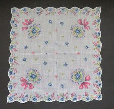Vintage Floral Handkerchief - Bouquets of Flowers - Blue Roses Pink Ribbons - Bridal Bouquet Handkerchief - Womens Fashion Accessories Gift
