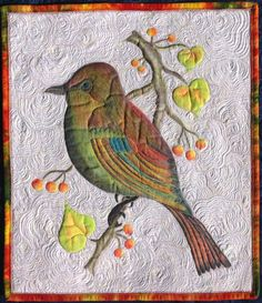 Birds Paradise 4-hand painted art quilt by IrenaBluhmsCreations