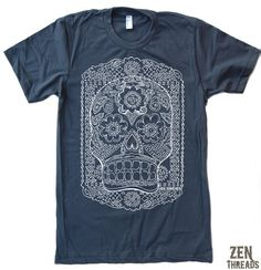 Hey, I found this really awesome Etsy listing at https://www.etsy.com/listing/62661816/mens-day-of-the-dead-american-apparel-t
