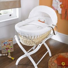 A serene White Gift wicker moses basket, this stylish basket will complement both modern or traditional interiors. Boy Nursery Bedding Sets, Girls Bedding Sets, Baby Bedroom, Baby Bedding, Moses Basket Stand, Luxury Nursery, White Sheets, White Wicker, Nursery Furniture