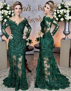 Long Sleeves Lace Mermaid Prom Dresses,V-neck See Through Evening Gowns,Mother of the Bride on Storenvy Modest Evening Gowns, Evening Gowns With Sleeves, Long Sleeve Evening Dresses, Prom Gowns, Mermaid Prom Dresses Lace, Lace Dress, Lace Mermaid, Mermaid Evening Gown, Ideias Fashion