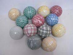 13 Victorian Scottish Ceramic carpet balls.