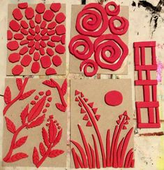 Gelli Plate Printing, Stamp Printing, Stencil Diy, Stencils, Foam Stamps, Atelier D Art, Stamp Carving, Handmade Stamps, Ecole Art