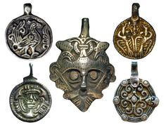 Early medieval Scandinavian pendants charms. The Vikings, X-XI century.