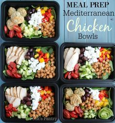 Meal Prep Mediterranean Chicken Bowls, perfect for meal planning. Easy meal prepping for the week, perfect for beginners. Meal Prep Mediterranean Chicken Bowls, perfect for meal planning. Easy meal prepping for the week, perfect for beginners. Lunch Meal Prep, Meal Prep Bowls, Healthy Meal Prep, Healthy Snacks, Healthy Recipes, Easy Mediterranean Diet Recipes, Mediterranean Dishes, Mediterranean Diet Breakfast, Gourmet
