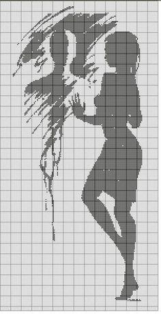 0 point de croix silhouette femme et homme dans miroir - cross stitch silhouette of a girl and man in the mirrorLady silhouette x-stitch Black work Filet Crochet Charts, Knitting Charts, Cross Stitching, Cross Stitch Embroidery, Cross Stitch Designs, Cross Stitch Patterns, Portrait Au Crayon, Cross Stitch Silhouette, Pixel Art Grid