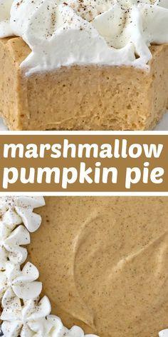 No Bake Marshmallow Pumpkin Pie - No Bake Pumpkin Pie with Marshmallows is a sweet and creamy twist to classic pumpkin pie. Marshmallow, Cool whip, and pumpkin combine to make a delicious pumpkin pie in a store-bought graham cracker crust. Pumpkin Baking Recipes, No Bake Pumpkin Pie, Baked Pumpkin, Pumpkin Dessert, Pie Dessert, Pumpkin Pie Recipe Graham Cracker Crust, Pumpkin Spice, Pumpkin Pie Cupcakes, Pumpkin Pie Bars