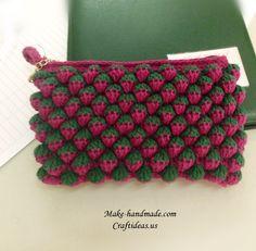 Crochet strawberry stitiches for purse
