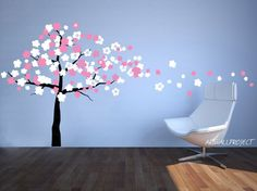 cherry blossom wall decal | Wall Decal Wind Blowing Cherry Blossom Tree