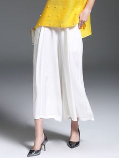 White Casual Pockets Tencel Plain Wide Leg Pants