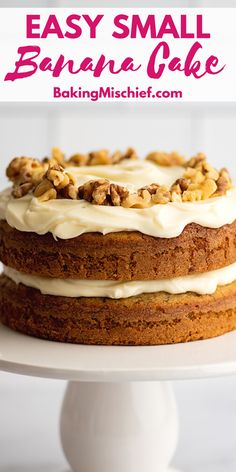 This incredibly soft and moist Small Banana Cake with Cream Cheese Frosting is the perfect thing to make with that brown banana on your counter. Frosting Recipes, Cake Recipes, Dessert Recipes, Picnic Recipes, Mini Cakes, Cupcake Cakes, Rose Cupcake, Cupcakes, Small Desserts