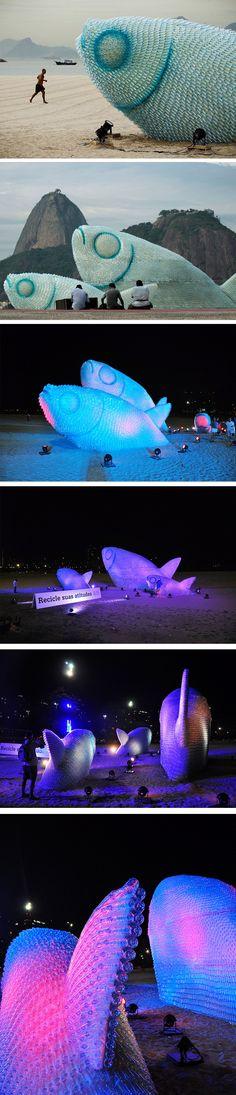 Esculturas gigantescas de peixes feitas de garrafa pet- Rio de Janeiro/ RJ.