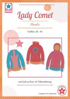 """Mehrgrößenschnittmuster, Größen: 34, 36, 38, 40, 42, 44 Alle Größen sind auf dem Schnittmusterbogen abgebildet.MiaLuna Kapuzenpulli für Damen""""Lady Comet"""" von MiaLuna ist ein sportlicher Hoodie mit Raglanärmeln, der in der..."""