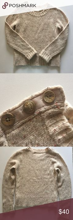Anthropologie Charlie and Robin sweater- medium Anthropologie sweater by Charlie and Robin - size medium. Crew neck. 3 button detail on single shoulder. Long sleeves. Rubber cuffs and hemline (cuffs are rolled in first photo). 46% wool, 29% acrylic, 22% nylon, 3% other fabric. Anthropologie Sweaters Crew & Scoop Necks