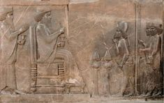 Darius the Great receiving greetings and gifts from governors and ambassadors. Relief from Persepolis, Iran