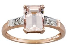 Cor-de-rosa Morganite(Tm) 1.12ct Emerald Cut With Diamond Accent 10k Rose Gold Ring Erv $252.00