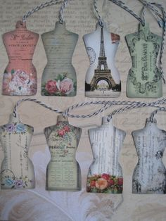 8 FRENCH DRESS FORM Tags  Vintage French Ephemera by TheJoyfulHome, $4.00