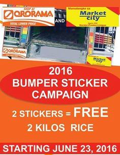Catch the Ororama and Market City 2016 Bumper Sticker Campaign today at Market City, Agora.