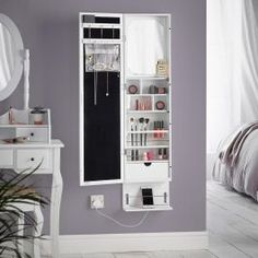 Beautify Mirrored Jewelry Cabinet Armoire Storage Organizer Wall Mounted Over The Door with Soft Glow Lig Beautify LED Wall/Door Mounted Mirrored Jewelry Armoire Cabinet Storage Organizer with Mirror and Drawers (White) Wall Mounted Jewelry Armoire, Jewelry Cabinet, Wall Mounted Makeup Organizer, Teen Room Decor, Bedroom Decor, Mirror For Bedroom, Teen Bedroom, Makeup Storage Mirror, Mirror Jewelry Storage