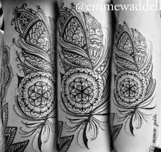 Modern Mandala, Mehndi, Henna, Paisley Style Feather Tattoo. Unique Peacock Art Patterns & Designs. All original artwork by tattooist & artist Emme Waddell