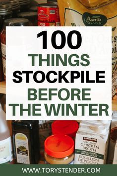 Pantry Items to keep in your food storage for the winter. How to prep for the winter. 100 items to keep in your food storage for the winter. Emergency prepping for beginners. How to start an emergency food storage. Emergency preparedness food storage. Emergency prep pantry staples. Survival preparedness food storage. Shelf stable food #emergencyprep #emergency #preparedness #Prepping #foodstorage #survivalpreparedness Emergency Preparedness Food Storage, Emergency Food Supply, Emergency Preparation, Disaster Preparedness, Emergency Binder, Emergency Planning, Urban Survival, Homestead Survival, Wilderness Survival