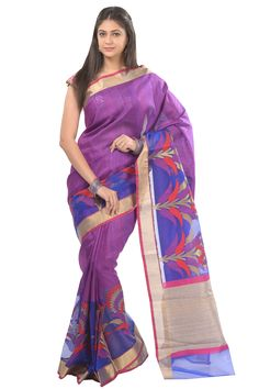 #Kalanjali Exclusive #Banarasi #saree #Magenta shade Banarasi silk, blend with jute stylish fancy hand woven saree is enhanced with contrast kora skirt which intricate in meena - gold paisley motifs followed by kadhi tissue border and pallu. Available contrast blouse.