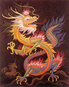 chinese-dragon-mosaic by k.The Chinese dragon is a symbol of wisdom, power, and luck in Chinese culture. Unlike western dragons, oriental dragons are usually seen as benevolent and kind. Dragons have long been a symbol in Chinese folklore and art. Year Of The Dragon, Enter The Dragon, Dragon Images, Dragon Pictures, Dragon King, Dragon Art, Mythological Creatures, Mythical Creatures, Dragon Oriental