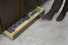 Kitchen Design Idea - Toe Kick Drawers // Great for storing baking equipment.