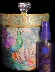 Peacock Decor display Round stash trinket 2pc Box + facial cloths & Body mist #PunchStudio #AntiqueStyle
