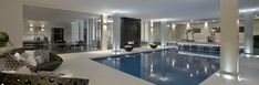 The basement swimming pool styled by Louise Bradley is part of a relaxing and luxurious leisure complex
