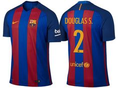 Barcelona  2 Douglas 2016-17 Home Jersey Messi 2016 1d730715b66