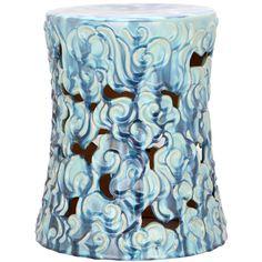 Safavieh Paradise Treasure Blue Ceramic Garden Stool | Overstock.com Shopping - The Best Deals on Garden Accents
