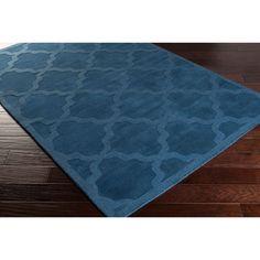 Surya Hand-Woven Tone-on-Tone Lattice Wool Rug (2'3 x 12') (Navy-(2'3 x 12')), Blue