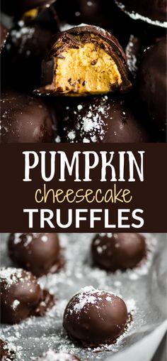 No bake pumpkin cheesecake truffles Cheesecake Truffles Recipe, No Bake Truffles, No Bake Pumpkin Cheesecake, Truffle Recipe, Cheesecake Desserts, Baked Pumpkin, Pumpkin Recipes, Fall Recipes, Pumpkin Truffles