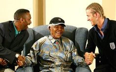 Lucas Radebe and David Beckham with Nelson Mandela Leeds United, Nelson Mandela, Coolpix, David Beckham, Celebs, Celebrities, Champion, African, The Unit