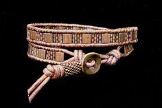 Caledonia Leather Wrap Bracelet with Tila Beads by beadbound