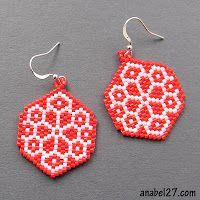 Beaded Snowflake PATTERN anabel brick weave - earrings peyote