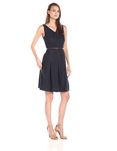 Jones New York V Neck Pleat Front Fit and Flare Dress, Navy - http://www.womansindex.com/jones-new-york-v-neck-pleat-front-fit-and-flare-dress-navy/