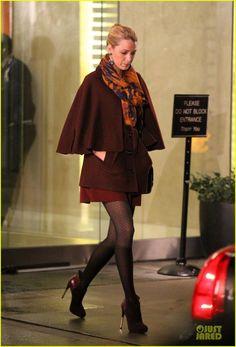 Blake Lively wearing Burberry Prorsum frames suede crossbody bag & Theodor & Callum scarf.