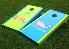 Lilly Pulitzer and Vineyard Vines Preppy Corn Hole Boards