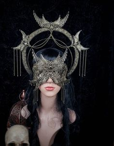 Ourfit, Gothic Mask, Halo Headband, Looks Halloween, Metal Wings, Bird Skull, Metal Headbands, Gothic Accessories, Pics Art