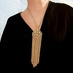 """Tassel Necklace Gorgeous Tassel Necklace 🔸 Chain Length: 27""""  🔸 Pendant with Tassel Length: 7.5"""" 🔸 Materials: Gold-tone Base Metals 🔸 Nickel & Lead Free 🔸 Condition: New 🚫NO OFFERS🚫 Jewelry Necklaces"""