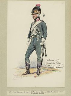 Chasseurs a Cheval in the Army of the Rhine 1792 by E.Fort based on a drawing by General Vanson. Cacciatore, French Revolution, Napoleonic Wars, Military History, Revolutionaries, Marines, Military Uniforms, Sailors, Drawing