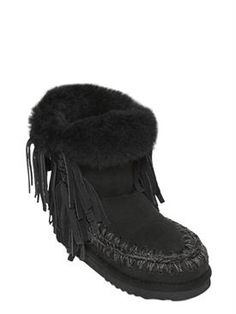 mou - women - boots - 20mm eskimo fringed shearling boots
