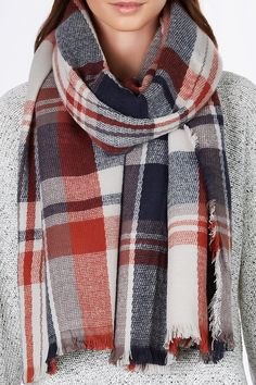 Classic plaid oversized scarf