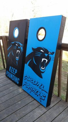 Carolina Panthers Cornhole Board Set by CountryCornholes on Etsy