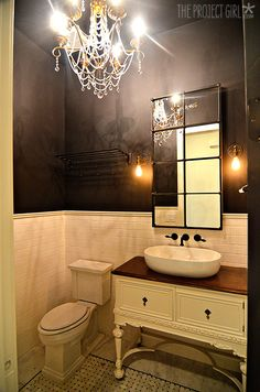 Black and Gold Powder Bathroom Reveal and Tile Details   Jenallyson - The Project Girl - Fun Easy Craft Projects including Home Improvement and Decorating - For Women and Moms
